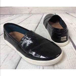 TOMS Avalon Black shiny Sneakers SlipOn Shoes 8.5